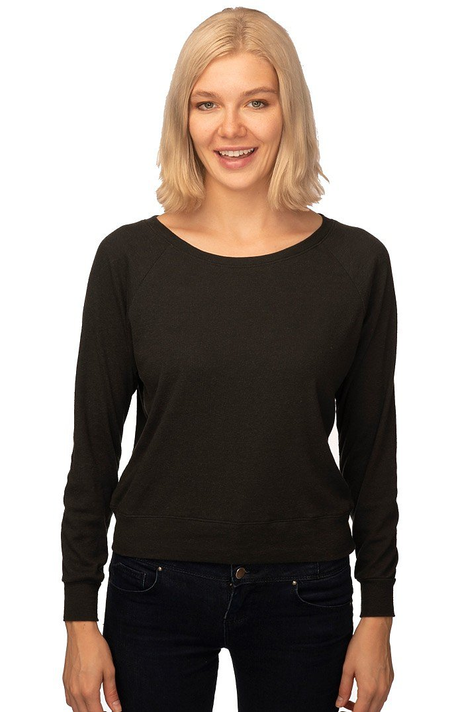 Women's Triblend Long Sleeve Raglan Pullover TRI BLACK