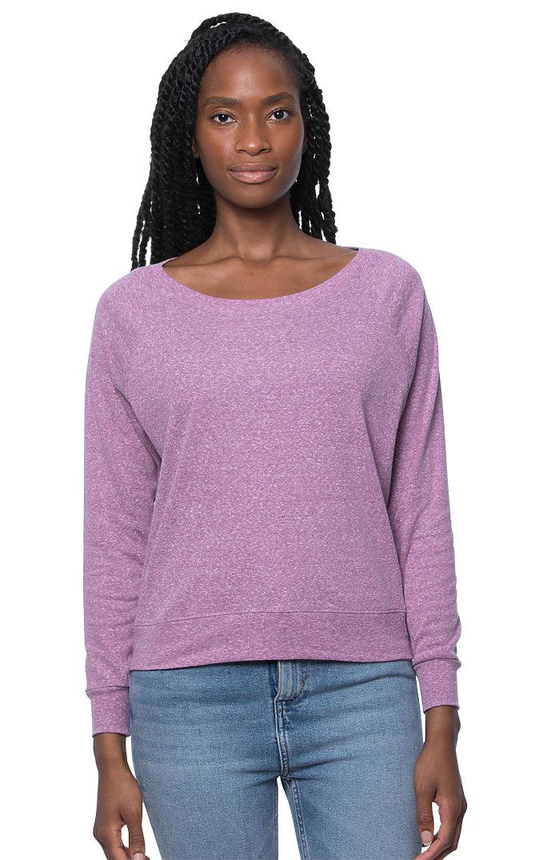 Women's Triblend Long Sleeve Raglan Pullover TRI PURPLE