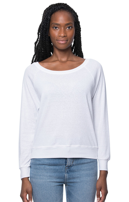 Women's Triblend Long Sleeve Raglan Pullover TRI WHITE