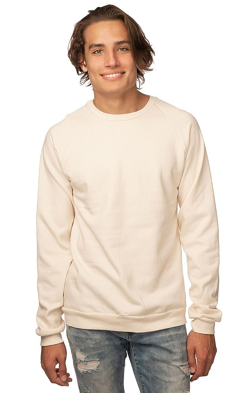 Unisex Organic Raglan Crew Neck Sweatshirt NATURAL