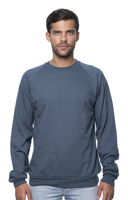 Unisex Organic Raglan Crew Neck Sweatshirt PACIFIC BLUE
