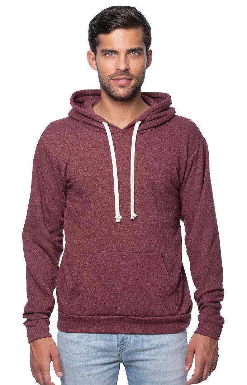 Unisex Triblend Fleece Pullover Hoodie TRI BURGUNDY
