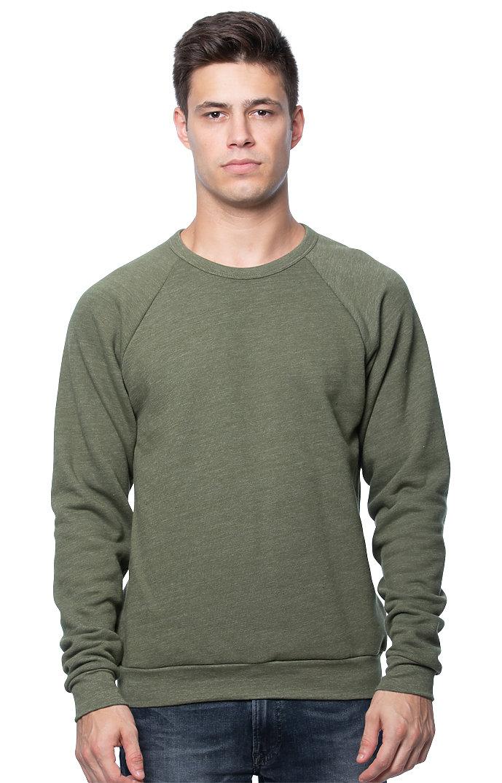 Unisex Triblend Fleece Raglan Crew Sweatshirt TRI ARMY