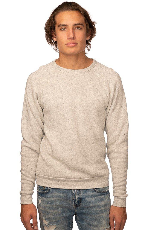 Unisex Triblend Fleece Raglan Crew Sweatshirt TRI OATMEAL