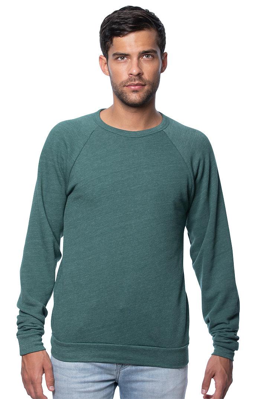 Unisex Triblend Fleece Raglan Crew Sweatshirt TRI PINE