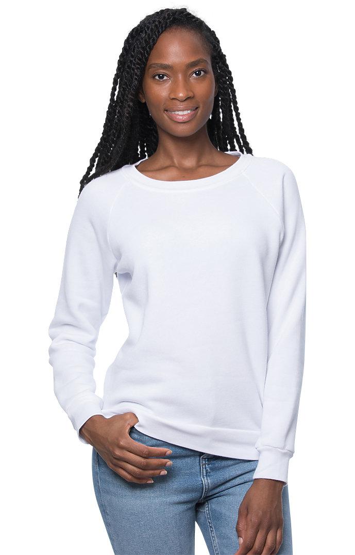 Women's Fashion Fleece Raglan Pullover WHITE