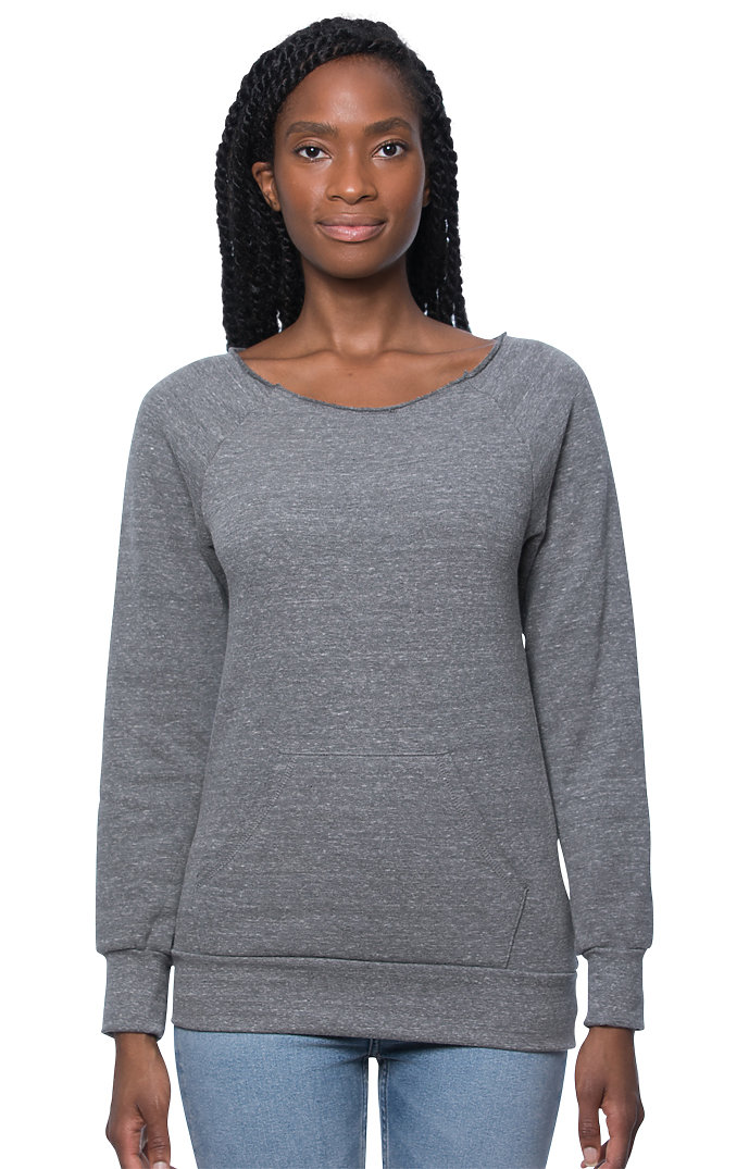 Women's eco Triblend Fleece Raglan w/Pouch Pocket ECO TRI GREY
