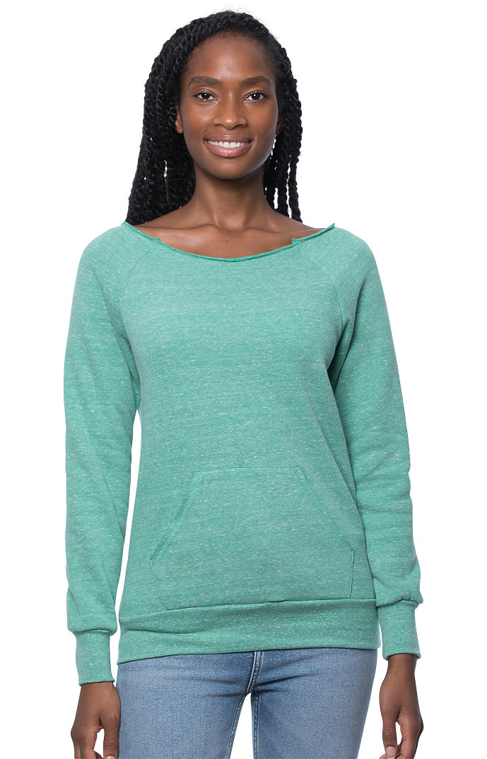 Women's eco Triblend Fleece Raglan w/Pouch Pocket ECO TRI KELLY