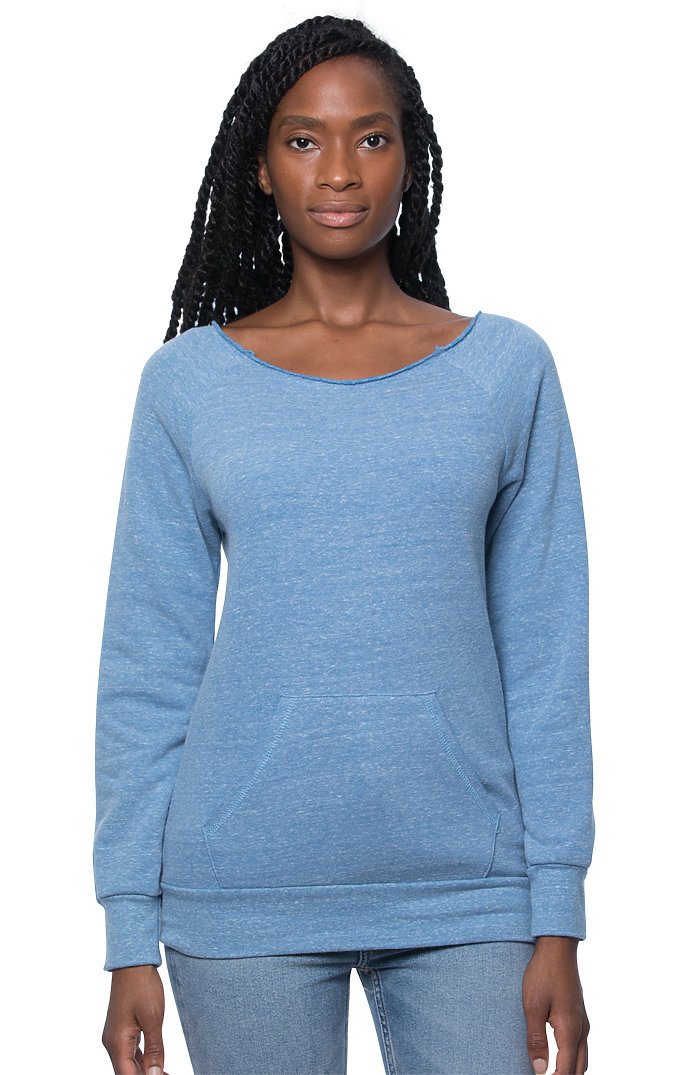 Women's eco Triblend Fleece Raglan w/Pouch Pocket ECO TRI ROYAL
