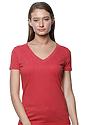 Women's 50/50 Blend V-Neck HEATHER CARDINAL Front