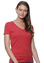 Women's 50/50 Blend V-Neck HEATHER CARDINAL Side