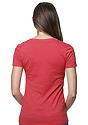 Women's 50/50 Blend V-Neck HEATHER CARDINAL Back