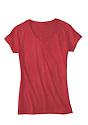 Women's 50/50 Blend V-Neck HEATHER CARDINAL Side2