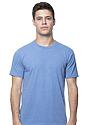 Unisex 50/50 Blend Tee HEATHER SEA BLUE Front