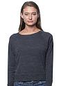 Women's Triblend Long Sleeve Raglan Pullover TRI ONYX Front