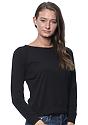 Women's Triblend Long Sleeve Raglan Pullover TRI BLACK Side