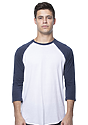 Unisex Triblend Raglan Baseball Shirt TRI WHITE / TRI DENIM NVY Front