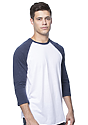 Unisex Triblend Raglan Baseball Shirt TRI WHITE / TRI DENIM NVY Back