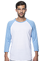 Unisex Triblend Raglan Baseball Shirt TRI WHITE / TRI POOL Front