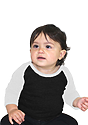 Infant Triblend Raglan Baseball Shirt TRI BLACK / TRI WHITE Front