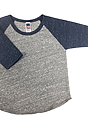 Infant Triblend Raglan Baseball Shirt TRI VNTG GRY / TRI DNM NVY Laydown