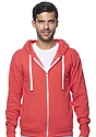 Unisex Triblend Fleece Zip Hoodie TRI RED Front