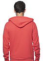 Unisex Triblend Fleece Zip Hoodie TRI RED Back