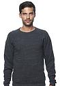 Unisex Triblend Fleece Raglan Crew Sweatshirt TRI ONYX Front