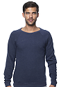 Unisex Triblend Fleece Raglan Crew Sweatshirt TRI DENIM NAVY Front