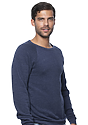 Unisex Triblend Fleece Raglan Crew Sweatshirt TRI DENIM NAVY Side