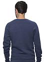 Unisex Triblend Fleece Raglan Crew Sweatshirt TRI DENIM NAVY Back