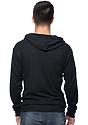 Unisex Thermal Full Zip Hoodie BLACK Back