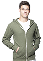 Unisex Thermal Full Zip Hoodie HEATHER ARMY Front