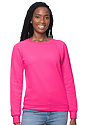 Women's Fashion Fleece Neon Raglan Pullover NEON PINK Front