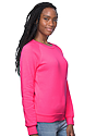 Women's Fashion Fleece Neon Raglan Pullover NEON PINK Side
