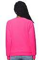 Women's Fashion Fleece Neon Raglan Pullover NEON PINK Back