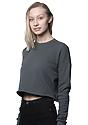 Women's Fashion Fleece Crop ASPHALT Back