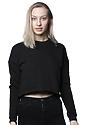Women's Fashion Fleece Crop BLACK Front