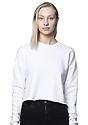 Women's Fashion Fleece Crop WHITE Front
