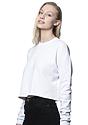 Women's Fashion Fleece Crop WHITE Back