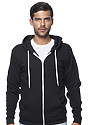 Unisex Fashion Fleece Zip Hoodie BLACK Front