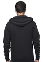 Unisex Fashion Fleece Zip Hoodie BLACK Back