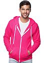 Unisex Fashion Fleece Neon Zip Hoodie NEON PINK Front