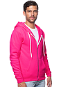 Unisex Fashion Fleece Neon Zip Hoodie NEON PINK Side