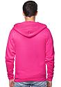 Unisex Fashion Fleece Neon Zip Hoodie NEON PINK Back