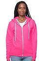 Unisex Fashion Fleece Neon Zip Hoodie NEON PINK Front2