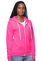 Unisex Fashion Fleece Neon Zip Hoodie NEON PINK Side2