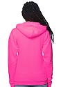Unisex Fashion Fleece Neon Zip Hoodie NEON PINK Back2