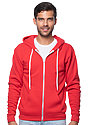 Unisex Fashion Fleece Zip Hoodie RED Front