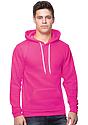Unisex Fashion Fleece Neon Pullover Hoodie NEON PINK Front